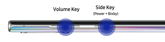 Image displaying the Volume button and Side button on the left side of the Note10 device