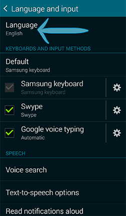 How do I change the language and keyboard used on my Samsung Galaxy