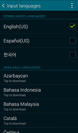 How do I change the language and keyboard used on my Samsung