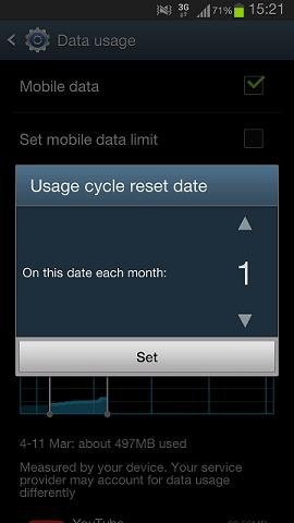 How do I check the amount of data I've downloaded this month on my Samsung Galaxy S III?