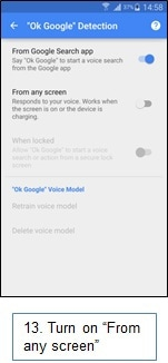 How do I get 'OK Google' in the 'Always On' mode to work on my Samsung Galaxy Note 4?