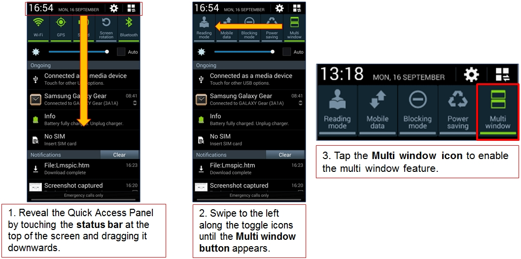 How do I move apps to and from the Multi Window Panel on my Samsun Galaxy Note 3?