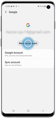 Option to remove Google Account is displayed