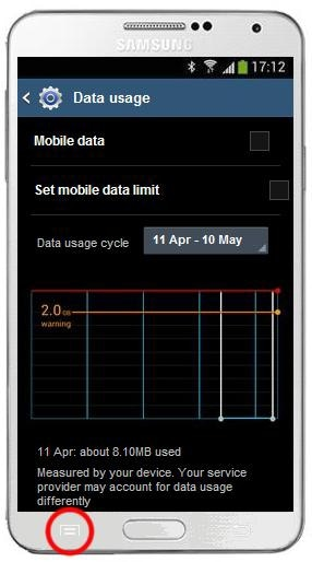How do I switch off international data roaming on my Samsung Galaxy Note 3?