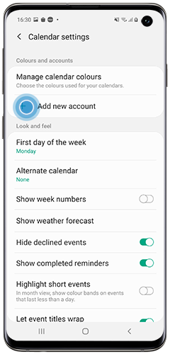 Add account to the Calendar app