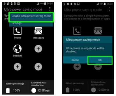 How do I use Ultra power saving mode on my Samsung Galaxy S5?