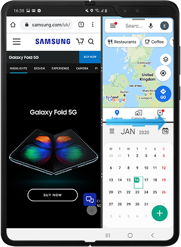 Drag circles to the right to exit split screen view on Galaxy Fold