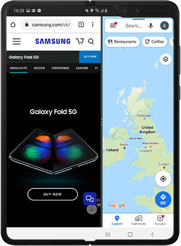 Two apps launched in split screen view on Galaxy Fold