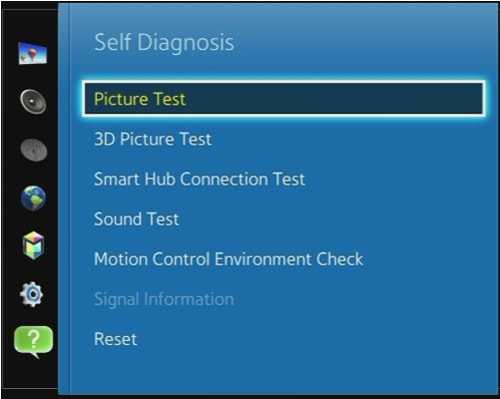 How do I run a picture test (self-diagnosis) on my TV?