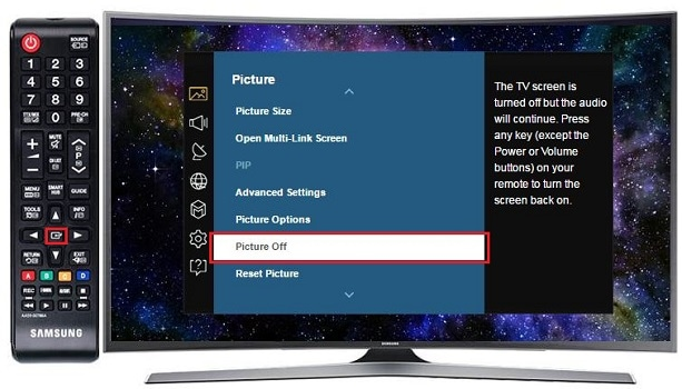 How do I turn off my Samsung TV's picture but not the sound