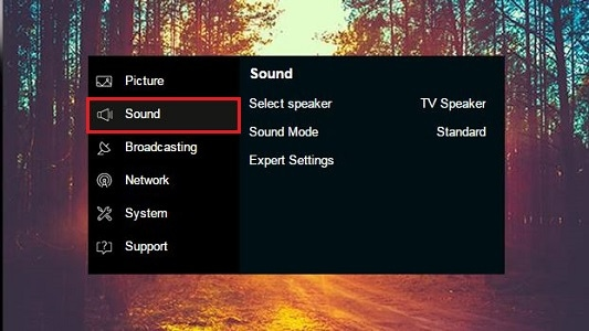 How do I turn the menu sounds on or off on my Samsung TV