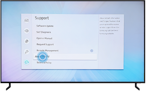 Select About This TV in Support menu on Samsung QLED TV