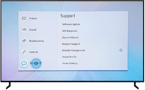 Select Support in Settings menu on Samsung QLED TV