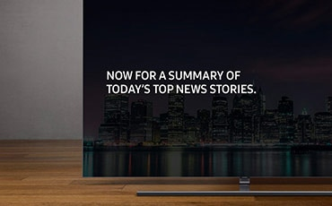 "A beauty cut of the 2018 new QLED TV Q9F. Front Angle with text ""NOW FOR A SUMMARY OF TODAY'S TOP NEWS STORIES""  on screen."