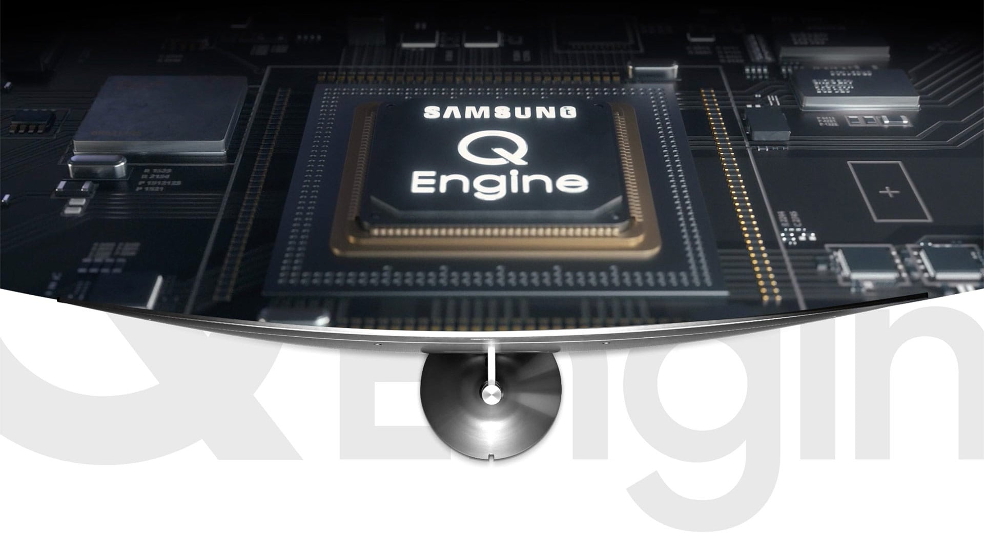 Image of the Q Engine, equipped in the Samsung QLED TV, lighting up as it starts to run.