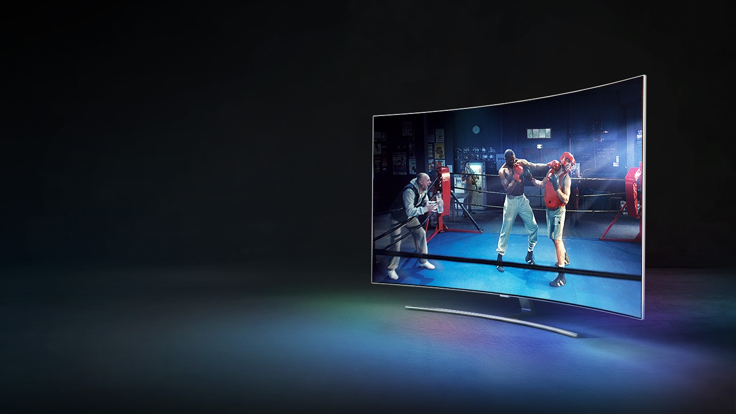samsung qled. qled tv q8c has been placed on the right side of room with an impression samsung qled n