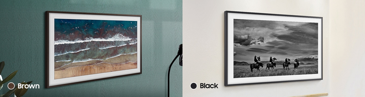 The Frame TV is mounted on the wall and has a brown and black customizable bezel that complements the art on its display