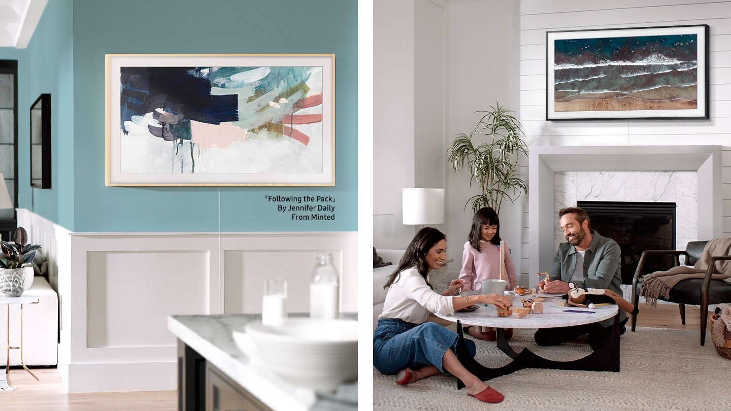 "The Frame's Art Mode transforms the room into a modern personal gallery with a new ambiance. It shows an abstract painting titled ""Following the Pack"" by Jennifer Daily. A second Frame TV shows an image of waves. A girl and her parents are playing."