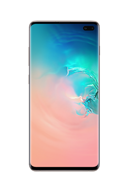 Galaxy S10 plus phone in Ceramic White, with an abstract coral and blue gradient graphic onscreen.