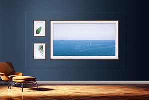 The Wall in a simple living room environment with matching background to the actual wall and displaying a My W Edition wall frame template with one big frame and two small frames.