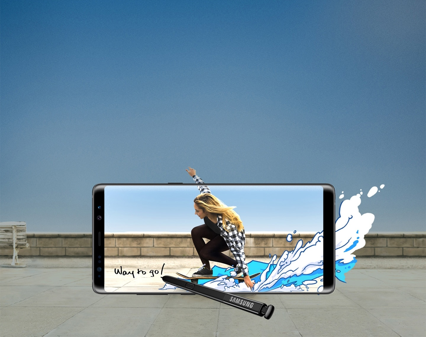 Samsung S Pen being used to draw artwork on a photo of a girl skateboarding shot with the Galaxy Note8 Midnight Black