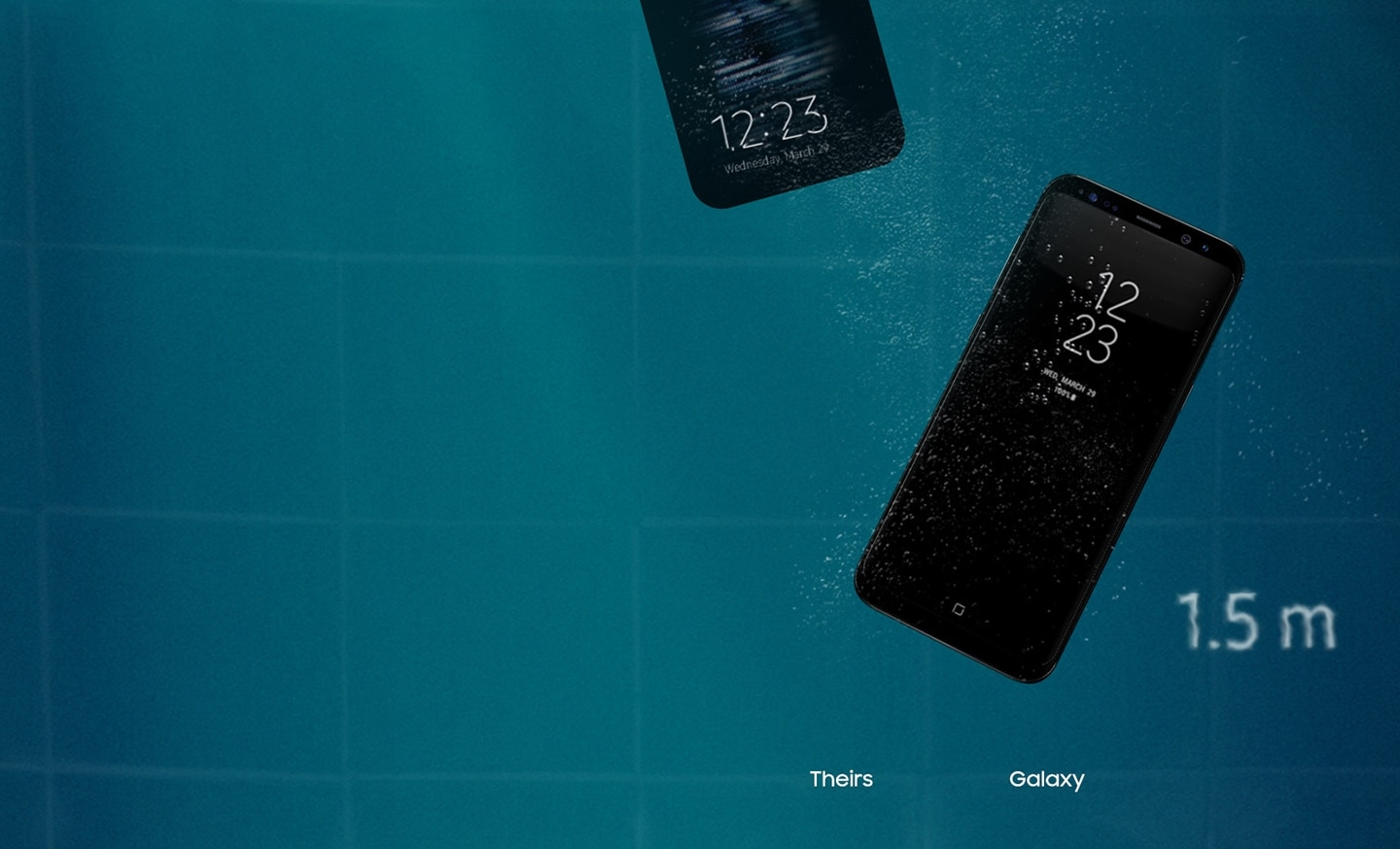 Galaxy S8 midnight Black waterproof to depth of 1m past 1.5m and the other phone that the screen is blurred after 1m and the screen goes out after 1.5m.