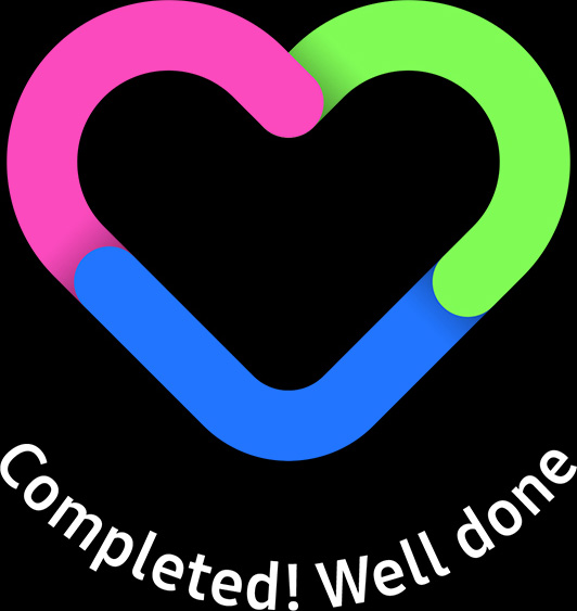 Daily Activity Heart gauge is filled with calories, time, and the number of work out. Completed! Well done.