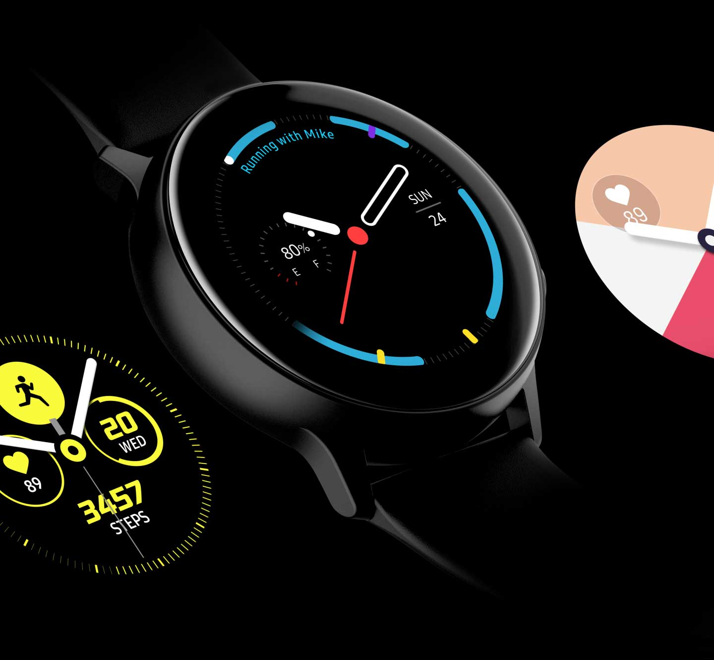 Four different designs of watch faces are exposed on the screen in The Galaxy Watch Active one by one. - face4