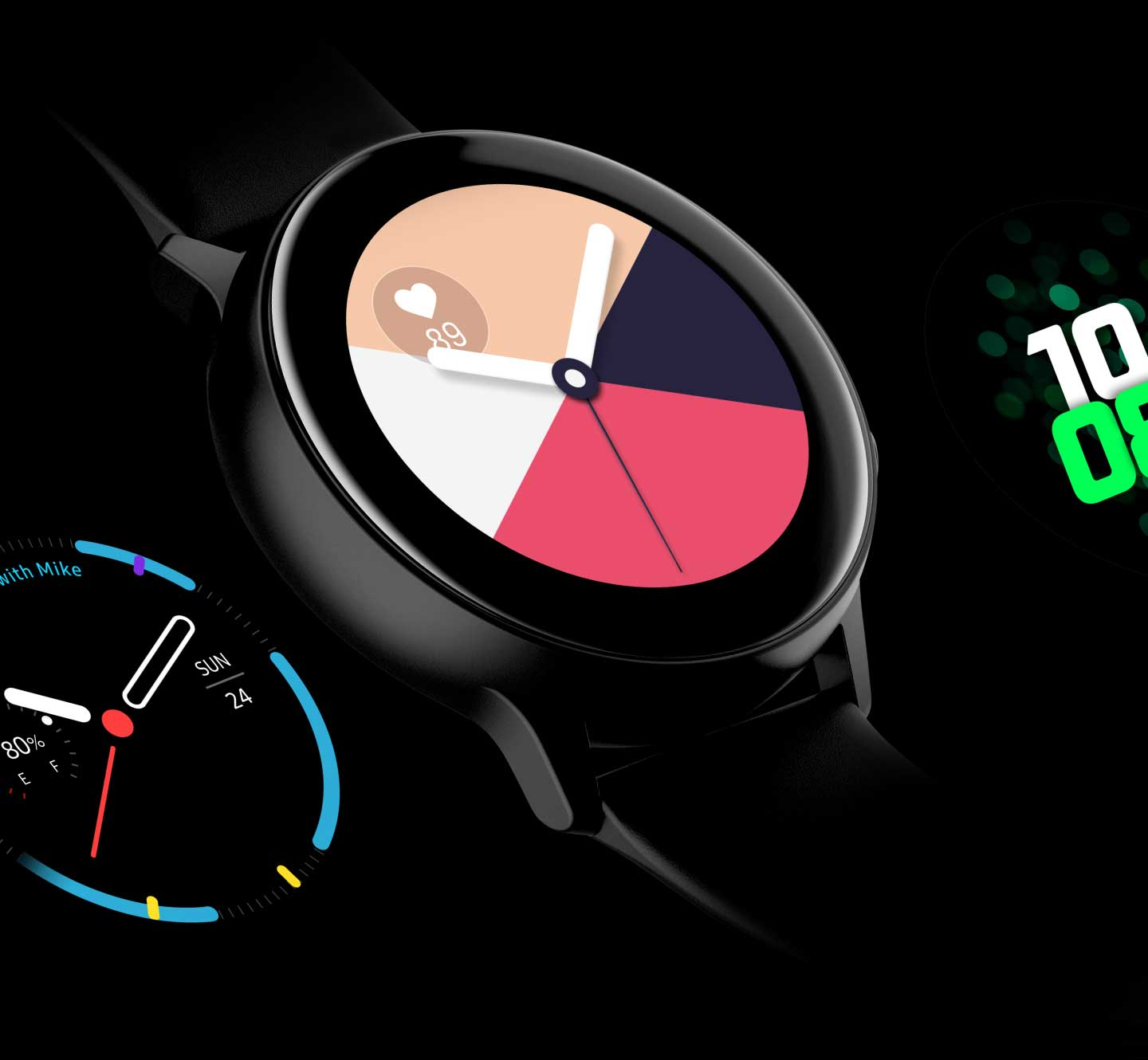 Four different designs of watch faces are exposed on the screen in The Galaxy Watch Active one by one. - face3