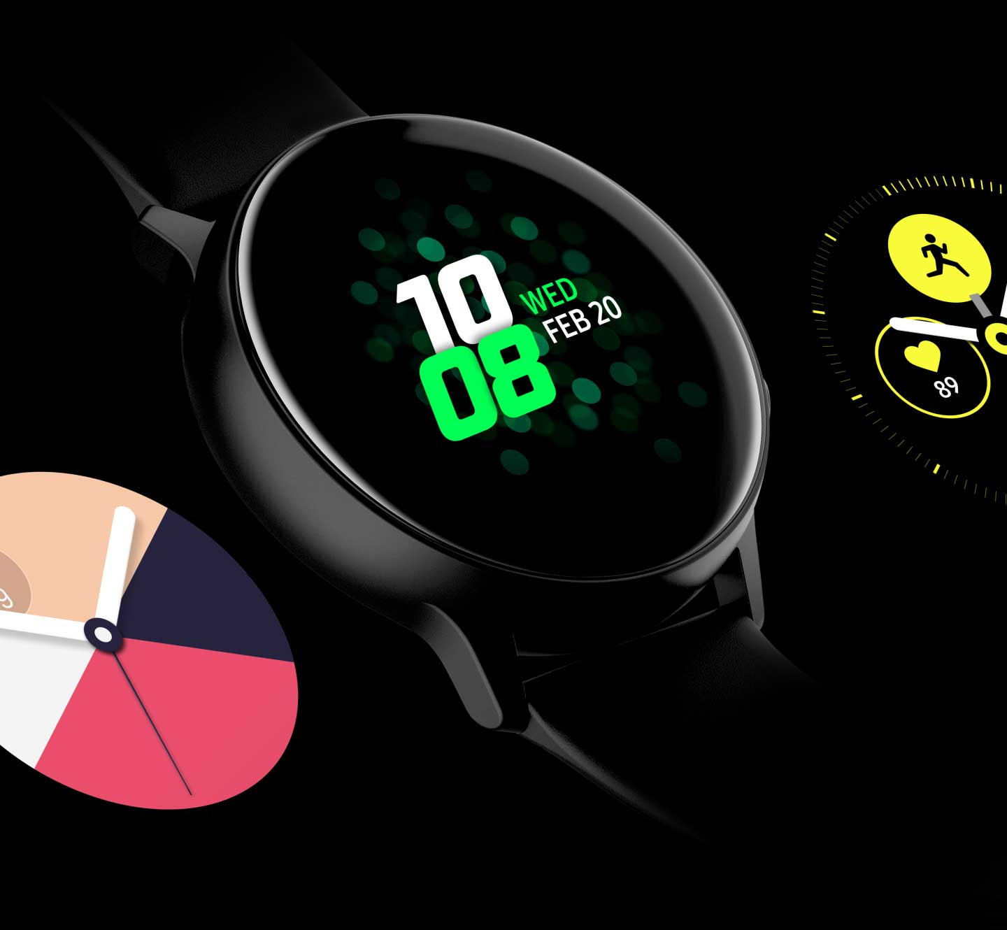 Four different designs of watch faces are exposed on the screen in The Galaxy Watch Active one by one. - face2