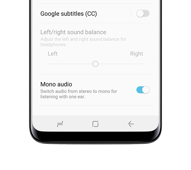 Galaxy S8 front view Mono Audio