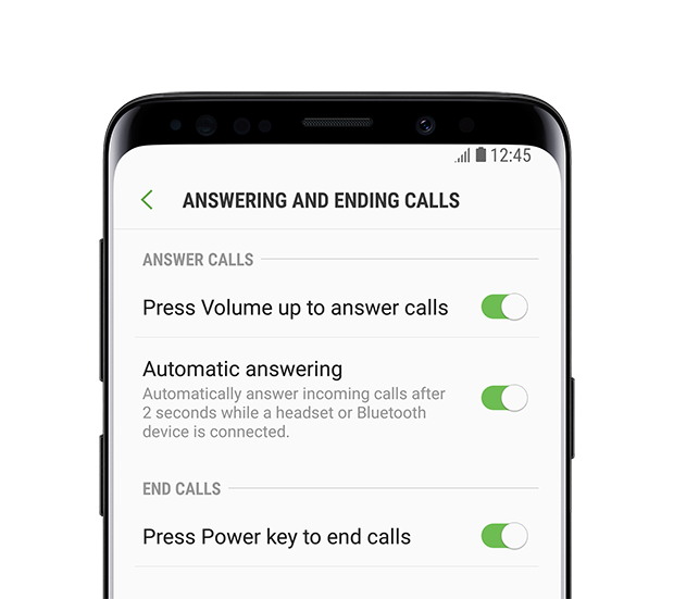 Galaxy S8 front view Answering And Ending Calls