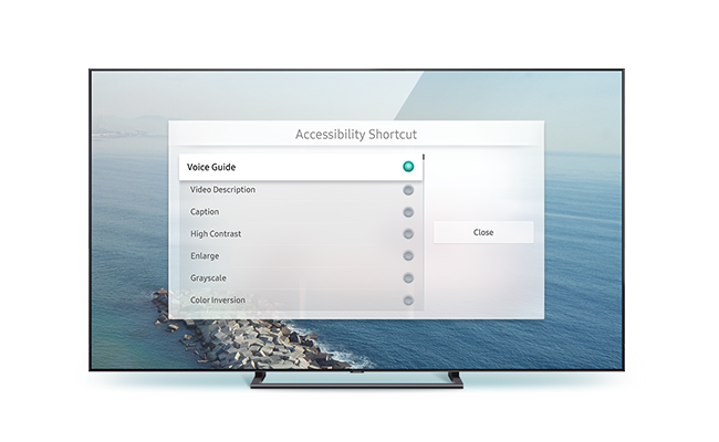 QLED TV front view to apply accessibility shortcut