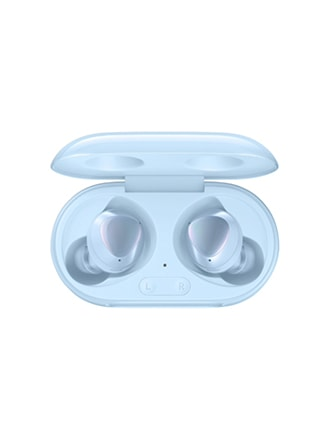A product shot of a pair of sky blue Galaxy Buds Plus sitting in their sky blue case