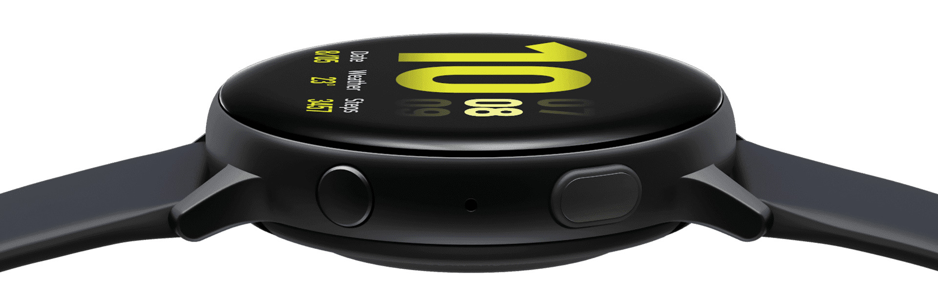 A Galaxy Watch active2 that rotates to display the rear side of the watch, the side view with the two buttons in the foreground, and finally the front side which shows the watch face.