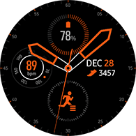 premium analog type orange color watchface