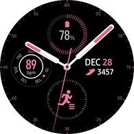 premium analog type pink color watchface