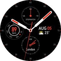 premium analog type red color watchface