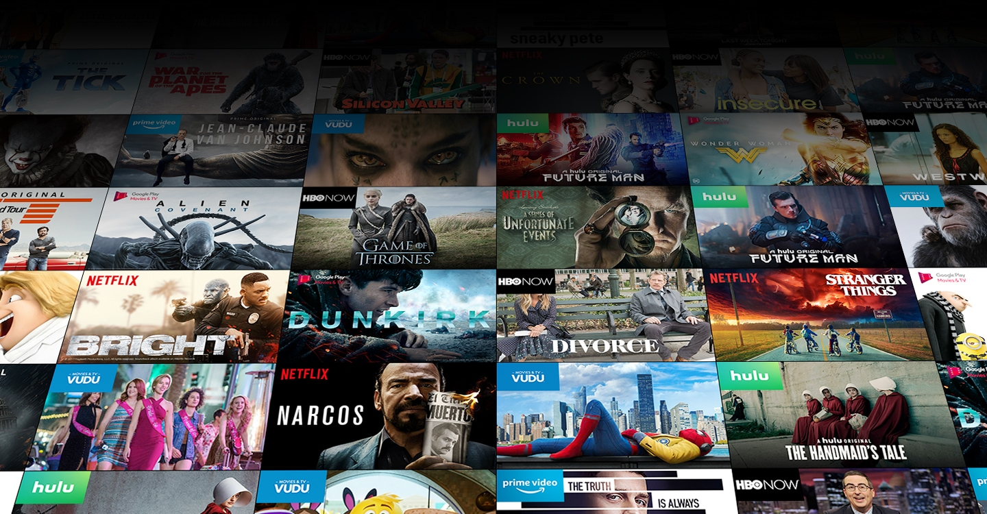 Various content with app icons; The Tick, and Jean-Claude Van Johnson on prime video, War for the Planet of the Apes, and Alien: Covenant, Dunkirk, and Despicable Me 3 on Google Play Movies & TV, Silicon Valley, Insecure, Westworld, Game of Thrones, and Divorce on HBO Now, The Crown, A Series of Unfortunate Events, Bright, Stranger Things, and Narcos on Netflix, Future Man, and The Handmaid's Tale Hulu, The Mummy, and  Spider-Man Homecoming on VUDU.