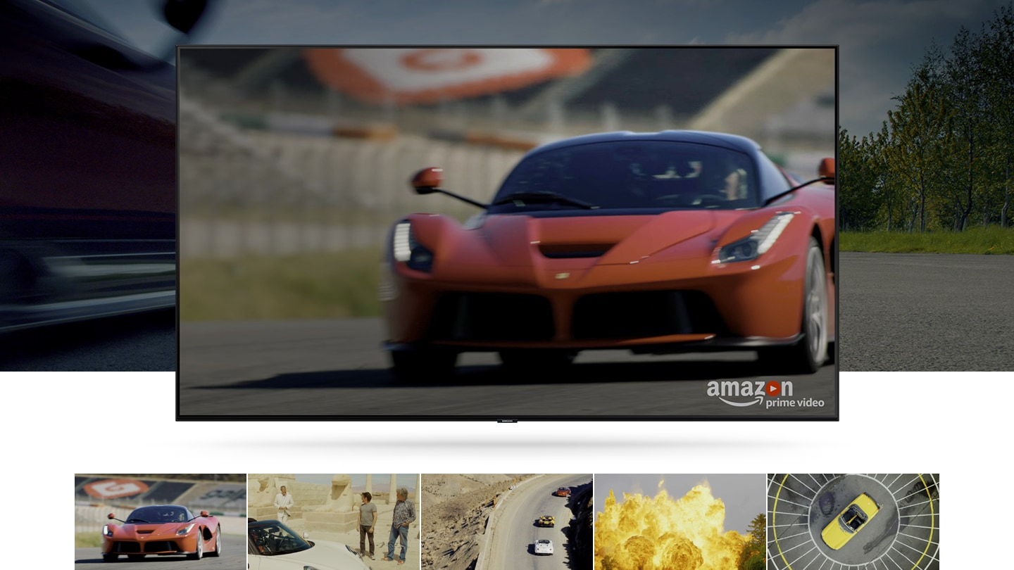 TV is showing  'The Grand Tour' of Amazon Prime Video. Under the TV, there are five other Amazon Prime video examples in thumbnails, except for the video currently playing.