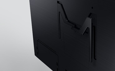 A close up shot of back side of the 2019 new Samsung QLED Q900R. Image shows M shape of wall mount parts.