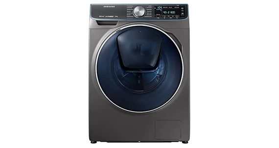 A front view of the Samsung Washing Machine WW90M761NOO/EU in graphite.
