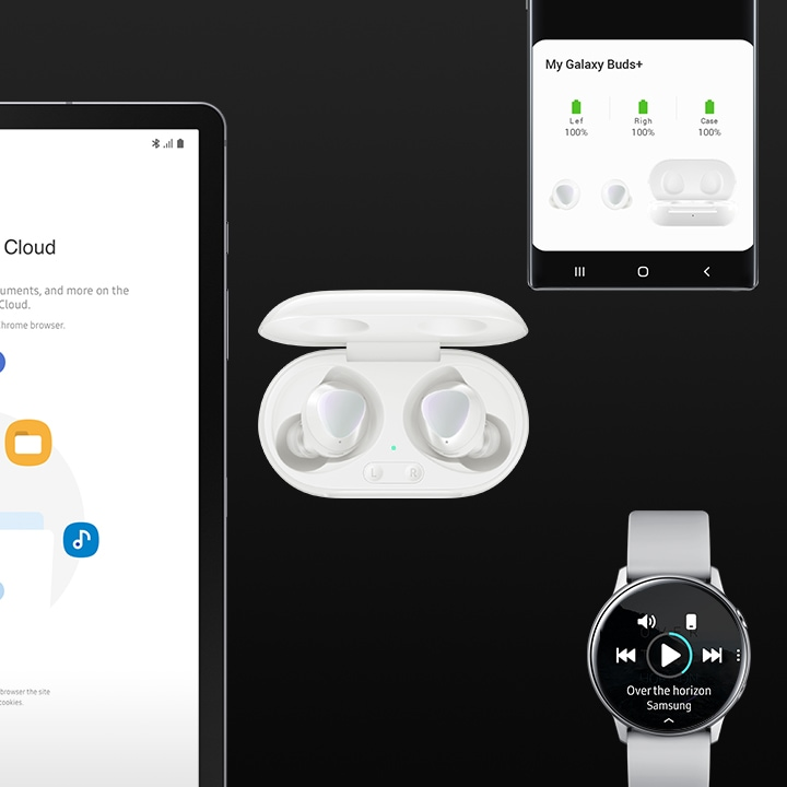 Four Samsung devices are displayed side-by-side: a Galaxy tablet, Galaxy Buds plus, a Galaxy watch and a Galaxy phone.