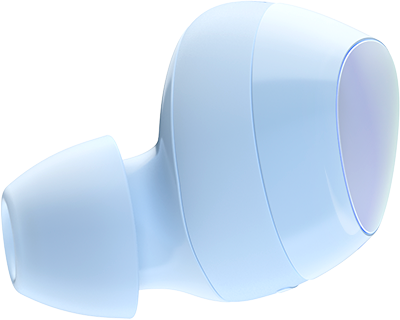 A light blue Samsung Galaxy Buds+ wireless earbud floating in mid air, facing the right-hand side of the photo