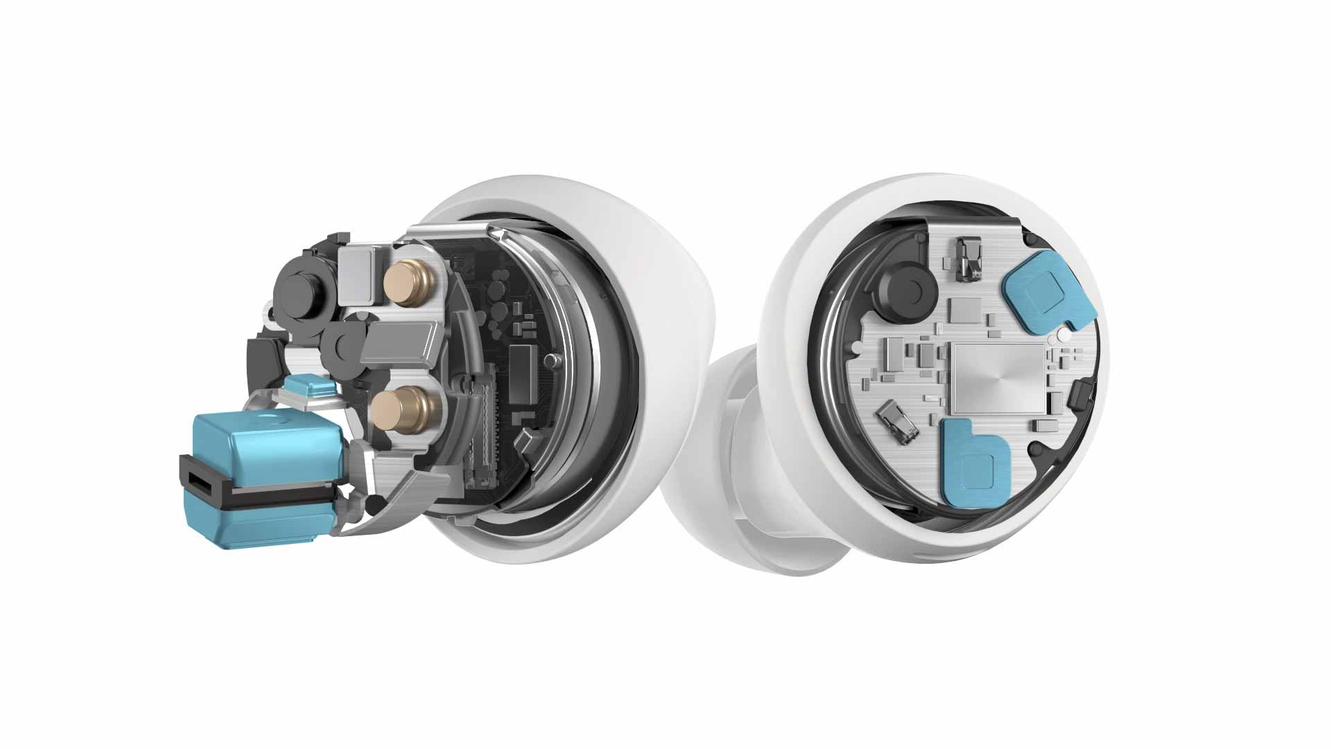 The inside components of a pair of white Galaxy Buds Plus wireless earphones are pictured in front of a white background.