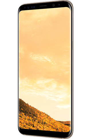 Angled right view of Galaxy S8+ in Maple Gold