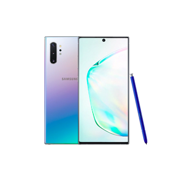 Galaxy Note10+ in Aura Glow, front and back views, with S Pen alongside.