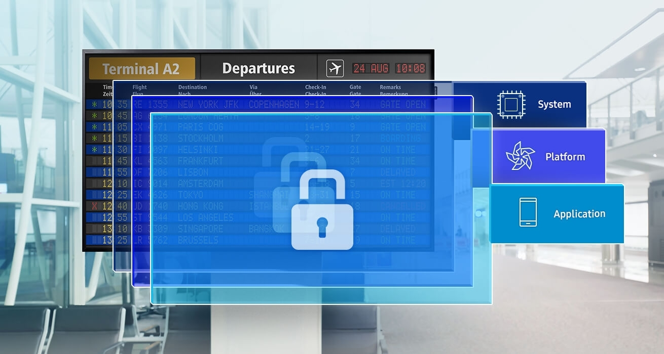 An image showing the QBH Series displays in the form of electronic boards against the background of an airport. Security-related system,  platform, and application are seen in layers, indicating they protect the product.