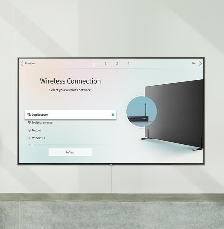 "Connecting Smart TV to the wireless internet with the caption ""Wireless Connection. Select your wireless network."""