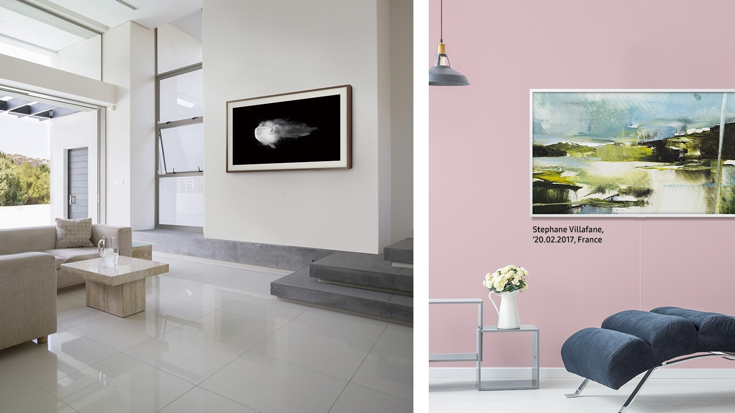 Split images of two different rooms with The Frame on the wall displaying different pieces of art. On the left, a long sofa is set next to a wide-open terrace, and on the right, a flower vase is set on a table with three levels.